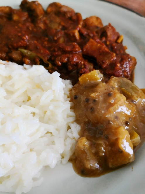 With Indian curry